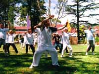 outdoor demonstration of Tai Chi Slow Form