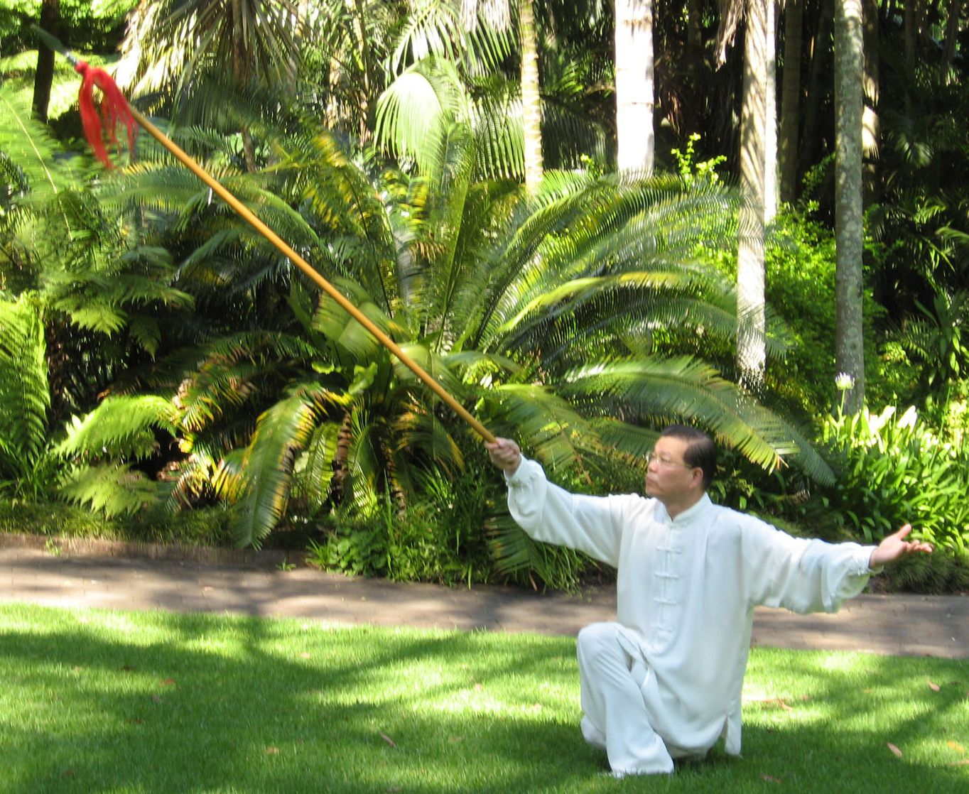 Sam Li demonstrating Tai Chi Spear Form