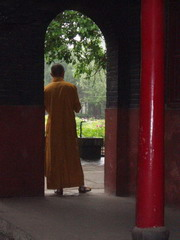 monk at a temple in China